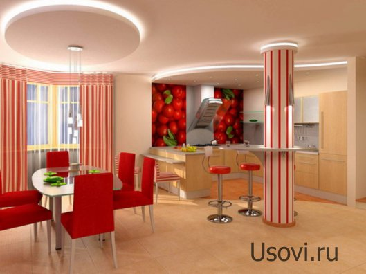 Кухонный потолок: варианты оформления