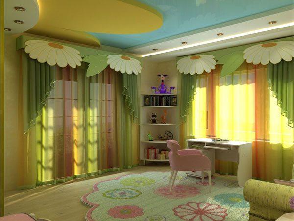 Потолки в детской из гипсокартона